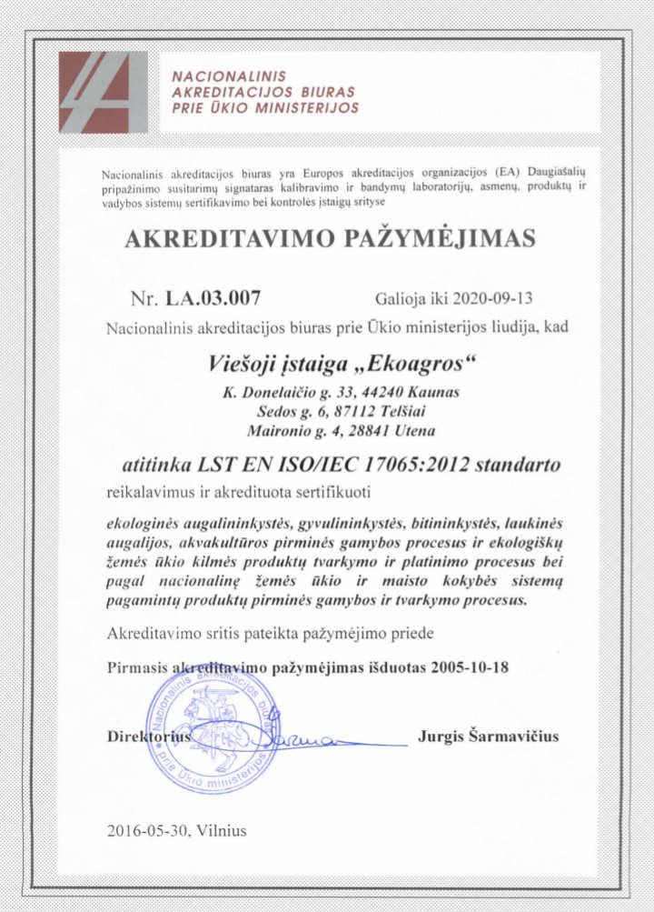 įstaigos akreditacijos pažymėjimas